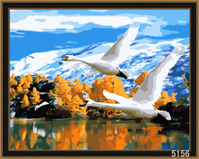 DIY digital flying swan oil painting for decor and gifts (40x50cm)