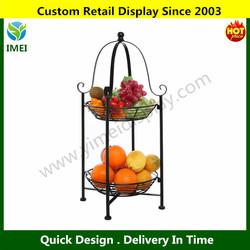2 Tier Freestanding Decorative Black Scrollwork Design Metal Fruit / Pastry Basket Wire Shelf Rack Stand YM5-1164