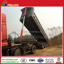 Three axles dump truck semi trailer with steel suspension for stone transportation