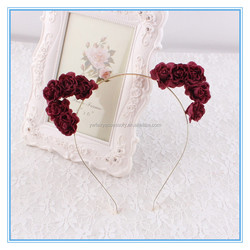 China wholesale fabric rose flower cat ears hair band, girls floral cat ears hair accessories