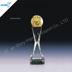 Elegant Gold Ball Crystal Unique Golf Trophies