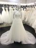 Free Shipping Scoop Neckline Appliqued Short Sleeves See Through Back Vestidos de Noiva Muslim Hijab Wedding Dresses 2015 A041