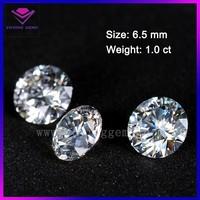 diamond per carat price round brilliant cut synthetic 6.5mm colorless moissanite stone