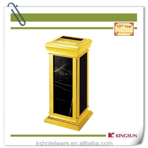 metal garbage container for sale gold color for hotel lobby