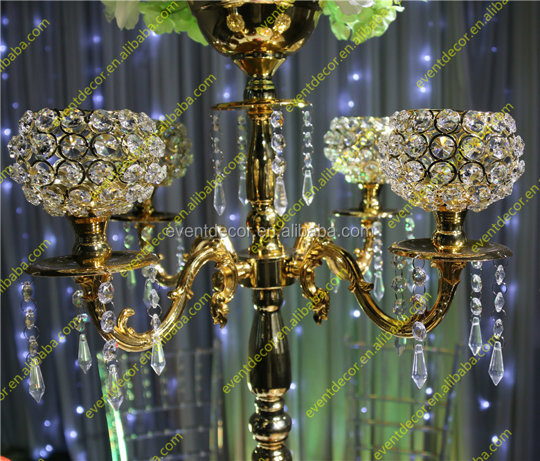 Wholesale crystal gold candelabra centerpieces with flower