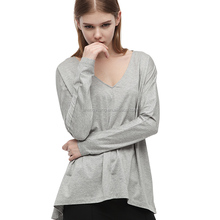 Long sleeve blank v-neck women's loose t shirt made in China LT-14