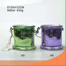 electroplate glass candle jar candle holder with wire