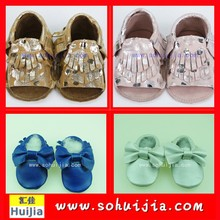 Hot sale high quality cheap Christmas funny colorful moccasins sweet bow and tassels trendy baby shoes