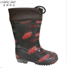PVC Rain Boot Manufacturer,Black Ground Car Printing With Oxford And Transparent Sole Antiskid Wellington For Children