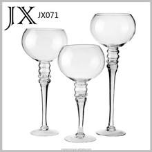 clear wine shaped Long-stemed glass candle holder for home decoration