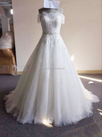 2015 Top quality short sleeves with bowknot cheap wedding dresses made in China for sale Y12-1