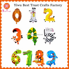 2015 New Design Foil And Mylar Animal Design Number Shape Balloon For Party Decoration