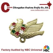 Folk art style 3D bird enamel badge