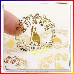 Hot Foil Stamping Transparent Clear Waterproof Adhesive Labels