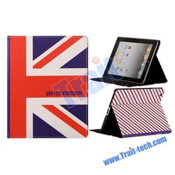 Factory Price High Quality ! Hot Selling Leather Stand Cover for ipad 3 flag case (various design)