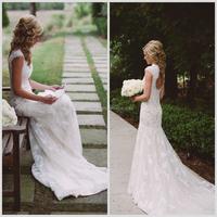 Elegant Design Romantic Soft Alencon Lace Wedding Dresses with Keyhole Back Cap Sleeve Mermaid