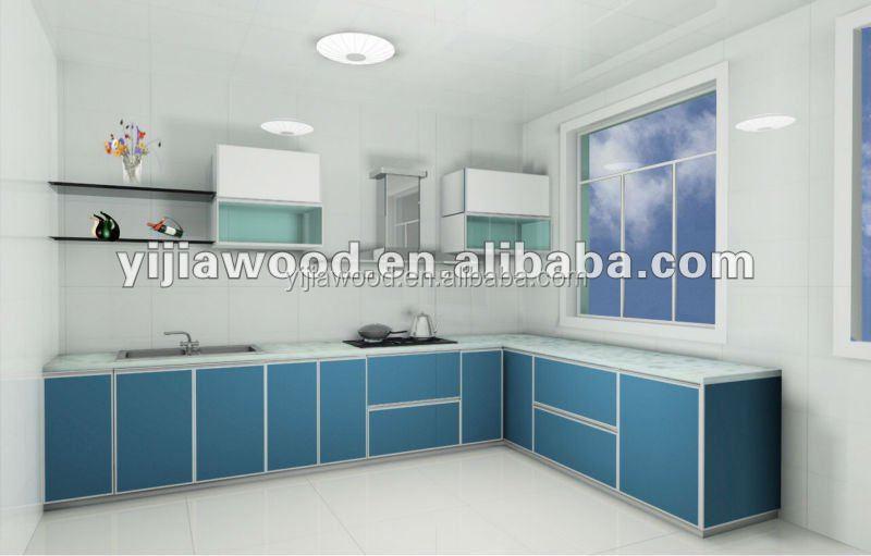 High gloss uv finish door aluminium edge body glass door kitchen