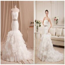 Real Mermaid Ruffled Wedding Dress With Crtstal Waistline Sweetheart White Organza Fit and Flare Bridal Gown