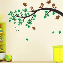 Colorcasa çıkarılabilir vinil duvar sticker aile dekoratif ağaç ve kuşlar duvar çıkartma sanatı için duvar kağıdı oturma odası( zy8474)