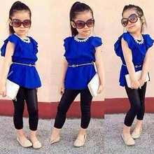 High Quality Baby Girl Butterfly Sleeve Blouse Design Tops Slim Pant Two Piece Set SV017496