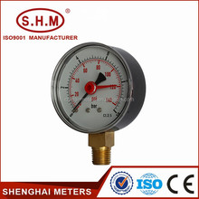 good quality bottom connection duplex pressure gauge