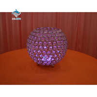 Luxury wedding decoration bling purple crystal ball candle holder