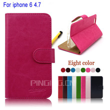 Leather Cell Phone Case For iphone 6, wallet case for apple iphone6, flip leather case for iphone 6