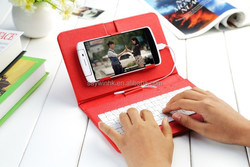 New arrival PU Leather keyboard phone case for 5 inch/6 inch Smart phone(red)