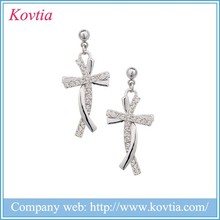 2015 unique simple design stainless steel earring silvery cross-shaped earring wedding gifts