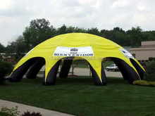 custom inflatable black and yellow dome tent, inflatable event tent from audiinflatables