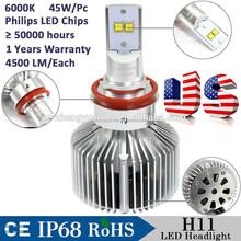 Auto Part Car Accessories LED Headlight H11/9007/H4/HB3-45W-4500LM Factory Direct Sale