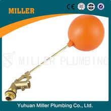 Alibaba water tank forged dn50 water medium pn25 brass float valve with orange plastic ball ml-8306