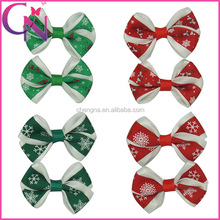 2.6 Inch Mini Chritmas Day Double Layers Printed Snow Fashion Hair Bow With Alligator Clip( CNHBW-1307293)