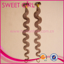 no processed 100% Cambodian hair extension in flat tip hair pro-bonded Italian keratin