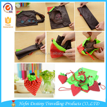 Wholesale print cheap foldable strawberry shopping bag