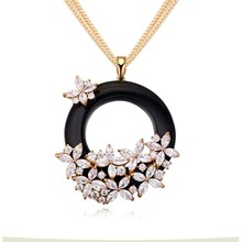 jewellery necklace sweater long necklace with ring pendent /2015 wholesale shinings design /crystal jewelry