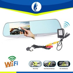 WiFi GPS Navigation Wireless Car Recorder Back Up Camera Rearview Mirror