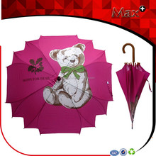 Alibaba china fancy design rain umbrella wooden handle