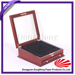 Custom flat wooden coin packaging box