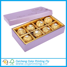 Popular cardboard paper candy/chocolate/cake packing box with handle and clear window