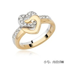 Creative design combined double heart finger ring Detachable ring for lovers
