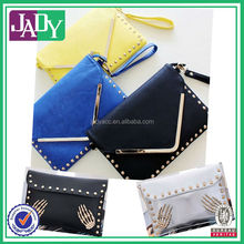 2014 China Wholesale Ladies Black Leather Envelope Clutch Bag with Studs