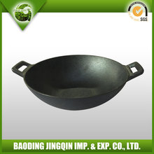 2015 very popular cast iron wok with two handles
