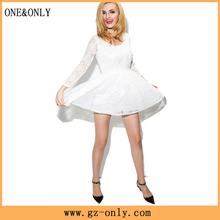 Openwork lace princess dress waist halter perspective sleeved dress