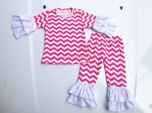 Hot pink children's chevron ruffle chothes set wholesale baby clothes girls boutique clothing wholesale