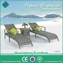 Rattan daybed patio chairs wood table top and arms used hotel pool furniture FWB-231
