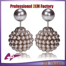 New Fashion Gold Silver Plated Two Side Double Ball with rhinestone Pearls Stud Earrings For Women