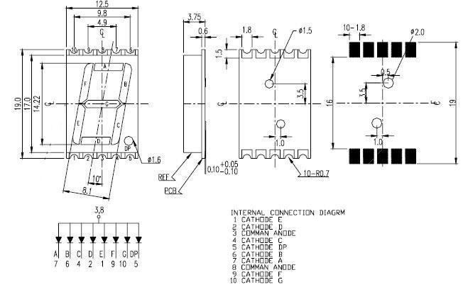 new design 0.39 0.56 inch 2 single 1 digit led smd 7-segment display led