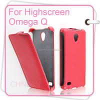 Luxury Vertical open up and down flip leather case cover for Highscreen Omega Q case