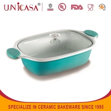 2015 eco-friendly rectangle baking ceramic silicone bakeware with glass lid